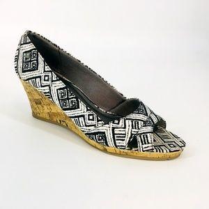 Life Stride Abstract Print Cork Wedge Sandal